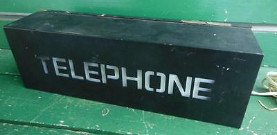 """Lighted Telephone Booth Can Box Hotel Motel Advertising Sign 18"""" X 6"""" Electric"""
