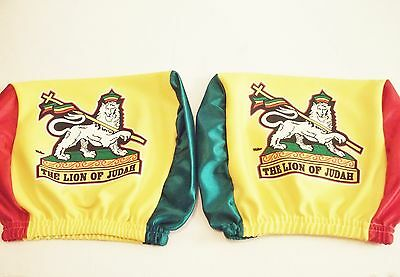 2pc Lion of Judah Headrest Cover CAR Seat Slip Flag Rastafari Ethiopia Christ