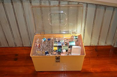 Filled Wilson LARGE WIL-HOLD SEWING BOX 2 Trays 14 x 8 x 9 CLEAR/YELLOW GOLD Vtg