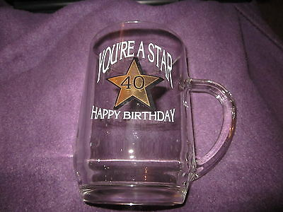 Happy birthday 40th glass tankard