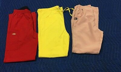 Lot (3) Dickies Women's Scrubs Pants Sz S Pink Yellow Red