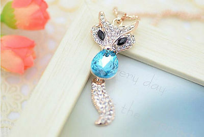 South Korean style blue crystal fox sweater fashion boutique necklace pendant JT
