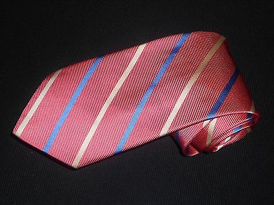 Brooks Brothers Tie Makers Woven Pink Striped Silk Mens Luxury Dress Necktie
