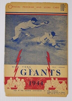 New York Giants 1944 Official Program and Score Card