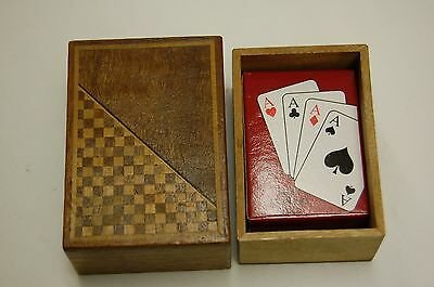 Small Vintage Wooden Games Box With Mini Playing Cards