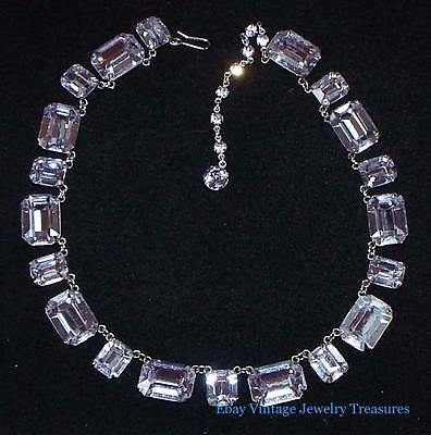 Vintage Art Deco Open Back Clear Rhinestone Silver Tone Necklace SUPERB