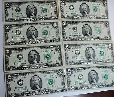8 - Two Dollar (2.00) Notes - 1976
