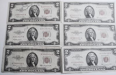 6 - Two Dollar (2.00) Notes - (5-1953 & 1-1963)