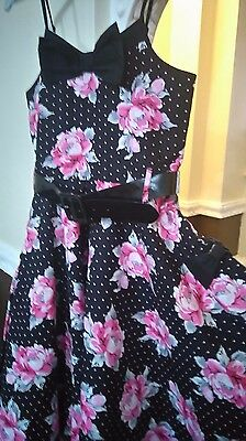 Girls Black & Pink Flower Party Dress, Size 12-13 years
