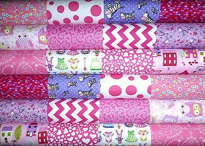 24 Pink Purple Childs Cotton Fabric Quilting Patchwork 5 inch Charm squares #63a