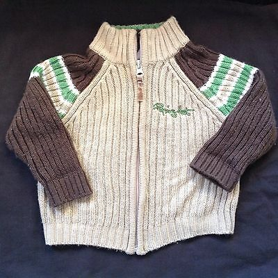 Boys Size 1 Winter Jacket Jumper Brown Green Good Condition