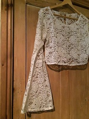 """VINTAGE 70s Hippy boho cream floral lace mesh bell sleeve crop top 36"""" 10 12"""
