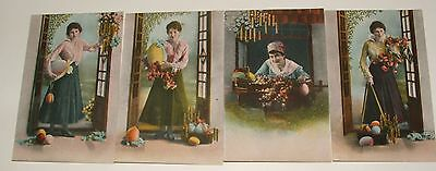 Four Antique Postcards Young Lady With Easter  Eggs