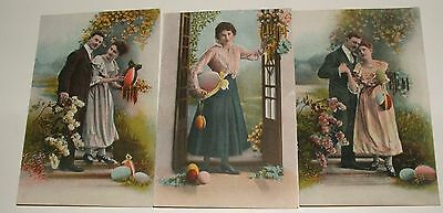 Three Antique Postcards With Easter  Eggs