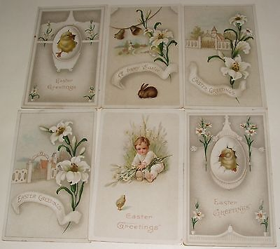 Six Antique Easter Greeting Postcards
