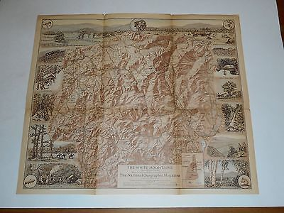 """1937 National Geographic Map Of The White Mountains,New Hampshire 20 x 17"""" Color"""