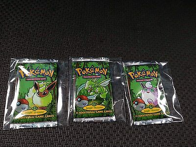 Set Of 3 Pokemon Jungle 1st Edition Booster Packs Gradable Mint/Fresh Condition