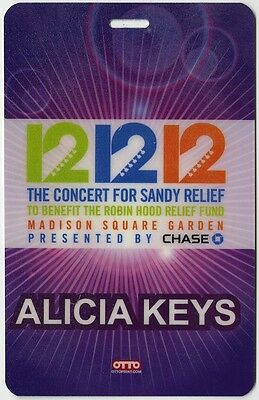 Alicia Keys authentic 2012 concert tour Laminated Backstage Pass