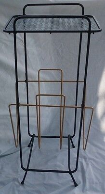Mid Century Black Gold Mesh Metal Side Table Vintage Magazine Phone Plant Stand