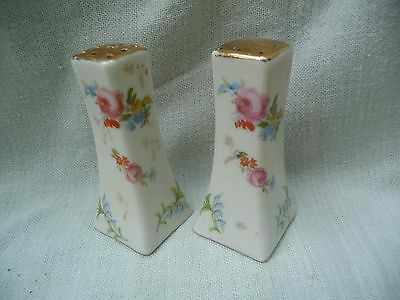 REDUCED: VINTAGE Porcelain Floral Salt and Peppers with Pink Roses and Gold Tops