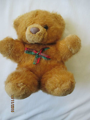 Soft Toy / Cuddly Toy Bear - Brown / Tan with Tartan Bow - 8 inch approx