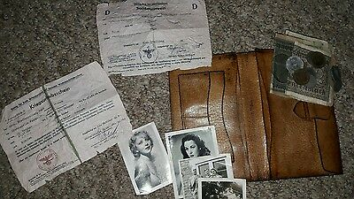 WWII German soldier Leather NAZI wallet notes coins pass sweetheart photo