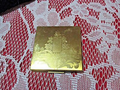 Vintage Elgin American Powder Compact Etched  Victorian Look Puff & Powder Wear