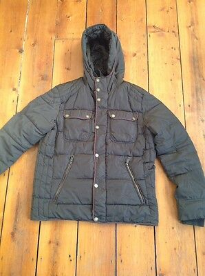 H&M mens quilted hooded coat Eur 54 / uk large