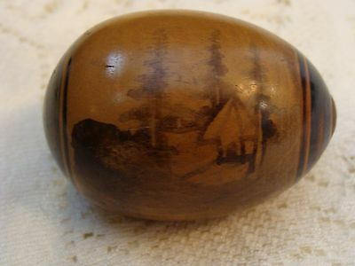 Antique Wooden Darning Egg Wood Travel Camping Cabin Scene Travel Souvenir