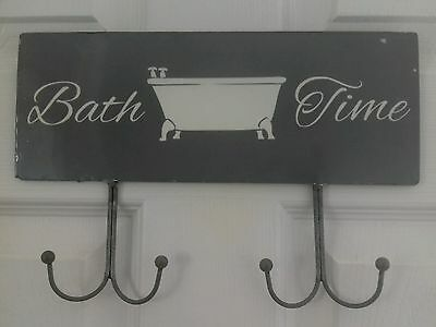 Bath time wall/door hanging grey cream  with x4 hooks metal  shabby chic style
