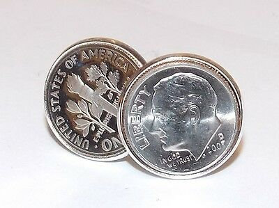 1977 Sixpence Coin Cufflinks Mens 40th Birthday Gift - American Dime