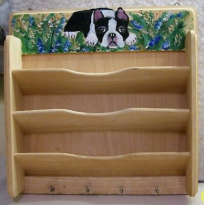 Boston Terrier hand painted  solid wood wall shelf with 4 hooks