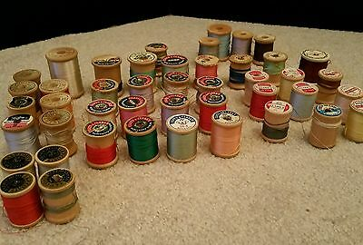 45 Vintage Wooden Sewing Thread Spools Mixed lot.
