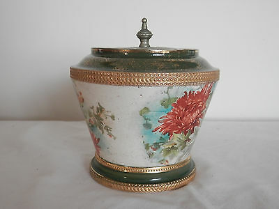 Gorgeous Victorian Pottery Lidded container  W Wood & Co Staffordshire Vintage