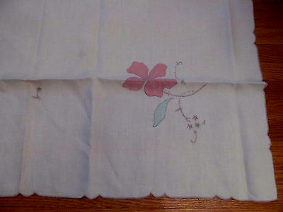 Never Used~Vintage Handmade Applique Embroidered Tablecloth Tea Cloth~Madeira