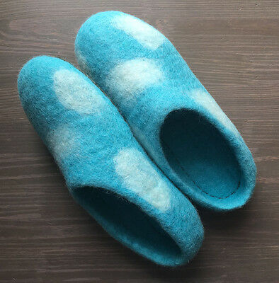 Felted Wool Slippers Size (Women's) 10 Blue Clouds Comfort winter shoes
