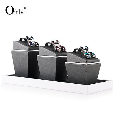 Oirlvl Gray PU Leather Jewelry Display Stand Set Ring Earrings Holder Exhibitor