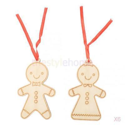 6x Carved Wood People Tag Christmas Tree Hanger Decor Craft Embellishment