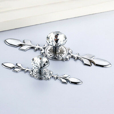 Simple Diamond Crystal Dresser Knobs Drawer Wardrobe Pulls Handle Cabinet Door