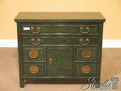 L41451: HENREDON Green Malachite Decorated Asian Inspired Chest
