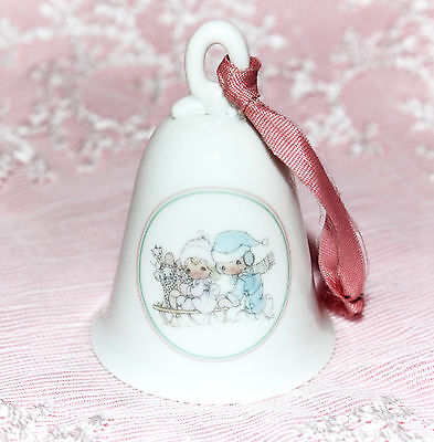 """Precious Moments/Enesco """"Sharing Our Season Together"""" Porcelain Bell ©1989"""