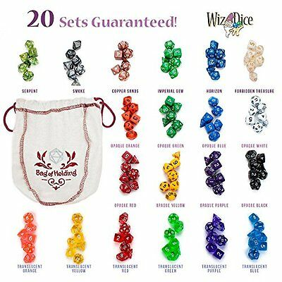 NEW Wiz Dice Bag of Holding: 140 Polyhedral Dice in 20 Guaranteed Complete Sets