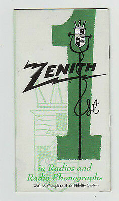 1940,s Or 50,s Zenith Radio Phonograph Foldout Brochure