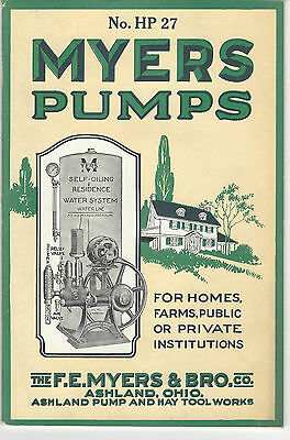 1927 MYERS PUMPS CATALOG, Ashland Pump and Hay Tool Works, Farm Equipment  WOW!