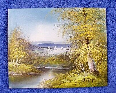 "Original Stretched Canvas Oil Painting Landscape 8""x10"" Signed by Artist"