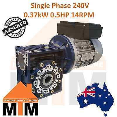 Single Phase 0.37kW 0.5HP 14rpm Type 75 Electric Motor & Worm Gearbox Drive i100