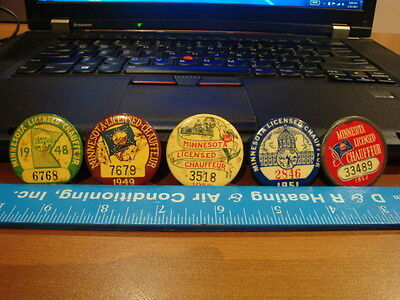 5 VINTAGE 1948 to 1952 Minnesota Licensed Chauffeur Pin Badges