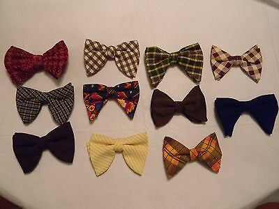 Vintage Lot of 11 Men's Clip-On Bow Ties Bowties PLAID SOLID CHECKS PRINTS