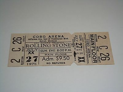 THE ROLLING STONES UNUSED 1975 TOUR TICKET, COBO HALL Keith Richards Mick Jagger