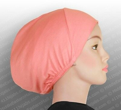 Underscarf Islamic Hats Muslim Cotton Inner Hijab Caps Islamic #12 Coral Pink